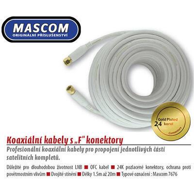 Koaxiální satelitní kabel, F-F konektor, 3m bílý  - 1