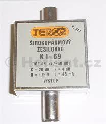 Zesilovač Teroz, 1-69, +20 dB 102dBuV IEC konektor