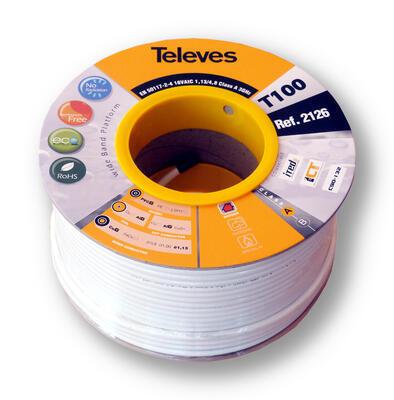 Televes 2126 koaxiální kabel 6,6mm, bílý, PVC, 100m - 1