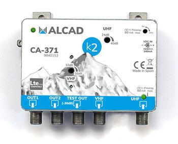 Alcad CA-371_ zesilovač, 2 vstupy UHF-BIII/ BI/ FM, 2 výstupy, 110 dBµV