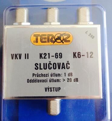 Slučovač VKV, UHF, III pásmo F konektory