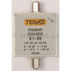 Zesilovač Teroz, 1-69, +20 dB 107dBuV F konektor