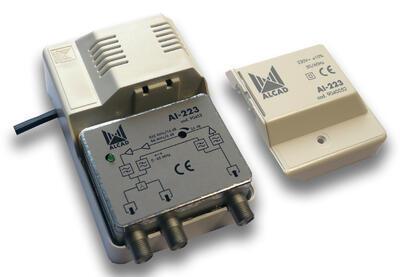 AI-233 zesilovač,1 vstup TV, 2 výstupy, zpětný kanál 0-65 MHz