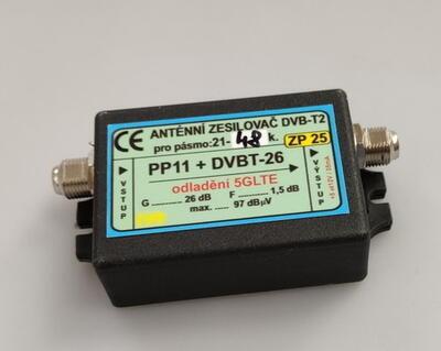 Zesilovač DVB-T2 26dB s potlačením 5G LTE - 1