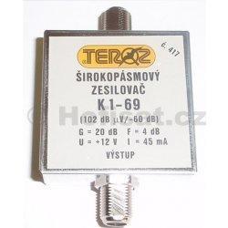 Zesilovač Teroz, 1-69, +20 dB 102dBuV F konektor