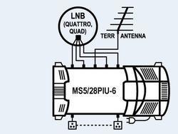 Multipřepínač MS 5/28 s TV vstupem, s napájecím zdrojem,přepínání 22kHz - 2