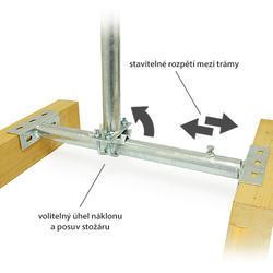 Drzák se stožárem mezi krovy stavitelný, zinek Žár  - 2