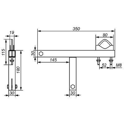 Držák antény/stožáru na komín OK-50W13 - bez nutnosti vrtání pro stožár 28-50mm  - 2