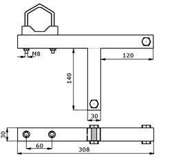 Držák antény/stožáru na komín 5m, bez nutnosti vrtání pro stožár do 50mm - 3
